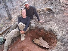 Glorieta Expeditions - Shauna with Robert Ward sitting next to her large find.