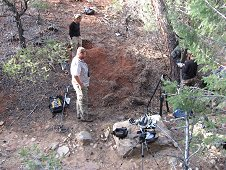 Glorieta Expeditions - Setting up to film and document Shauna's discovery.