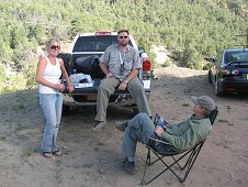 Glorieta Expeditions - Shauna, Mike Farmer and Jim, end of a successful hunting trip.