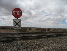 Holbrook Expedition - Railroad crossing that is near the center of the strewnfield.
